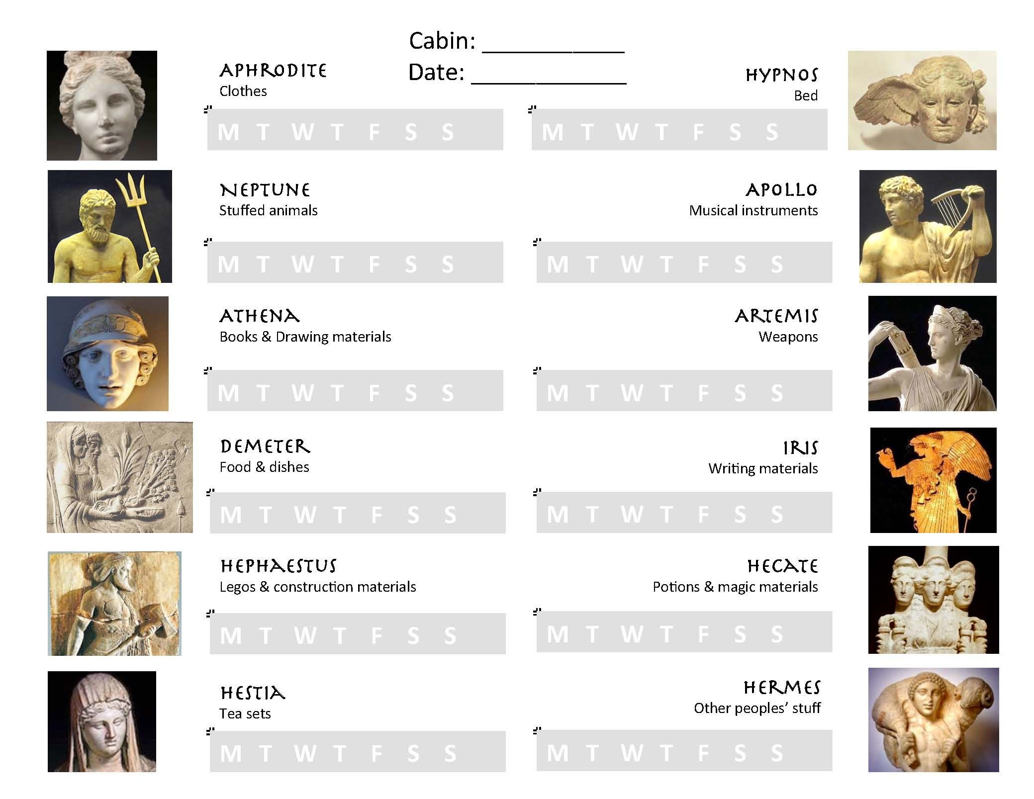 Weekly worksheet with Greek gods inspiring a child to keep the – Greek Gods Worksheet