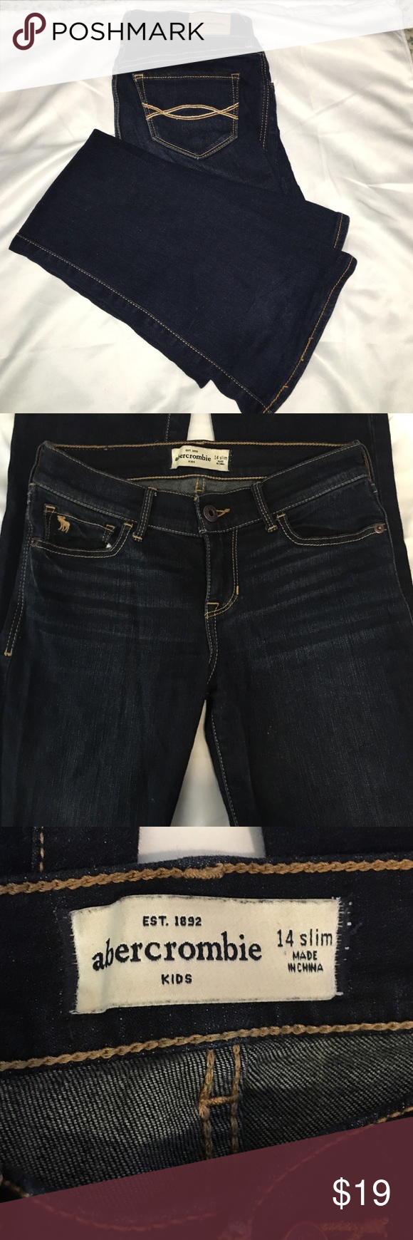 Abercrombie Girls jeans 14 slim Dark wash girls denim boot cut Jean by Abercrombie size 14 slim abercrombie kids Jeans Boot Cut
