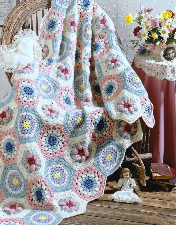 Vintage Crochet Pattern Granny Floral Hexagon Afghan Throw Blanket