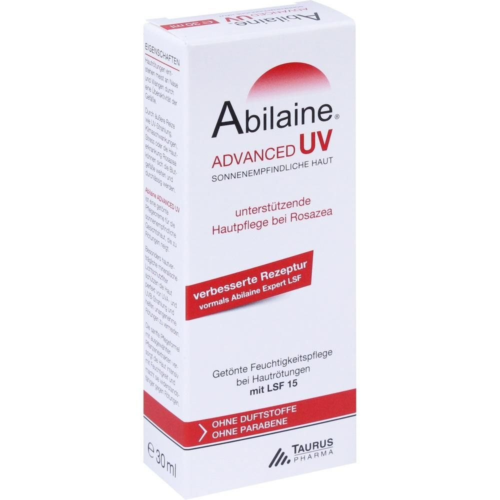 ABILAINE ADVANCED UV Creme LSF 15:   Packungsinhalt: 30 ml Creme PZN: 10739798 Hersteller: TAURUS PHARMA/Wertapharm GmbH Preis: 10,51 EUR…