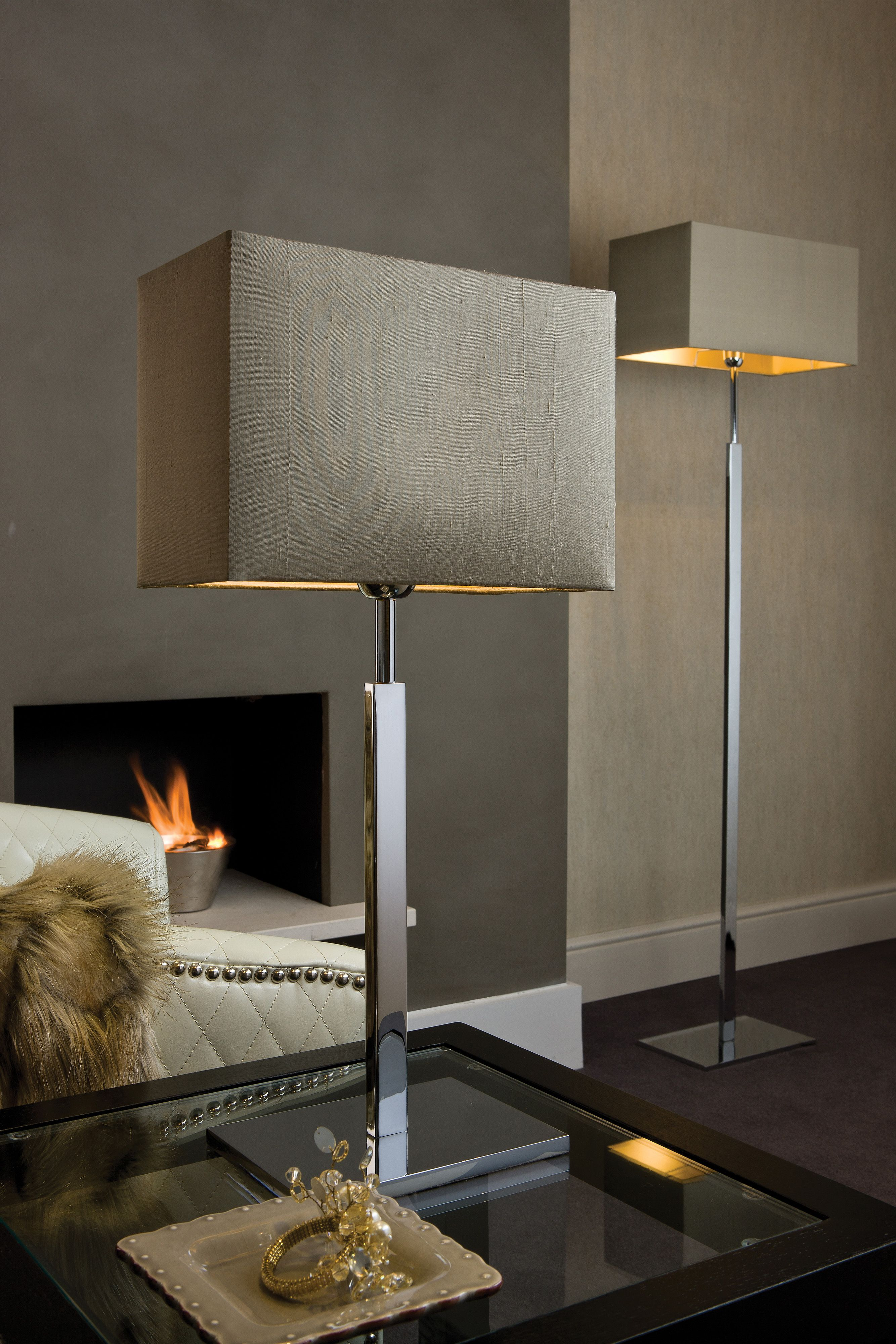 Matching floor and table lamps - Dakota Chrome Table And Floor Lamps