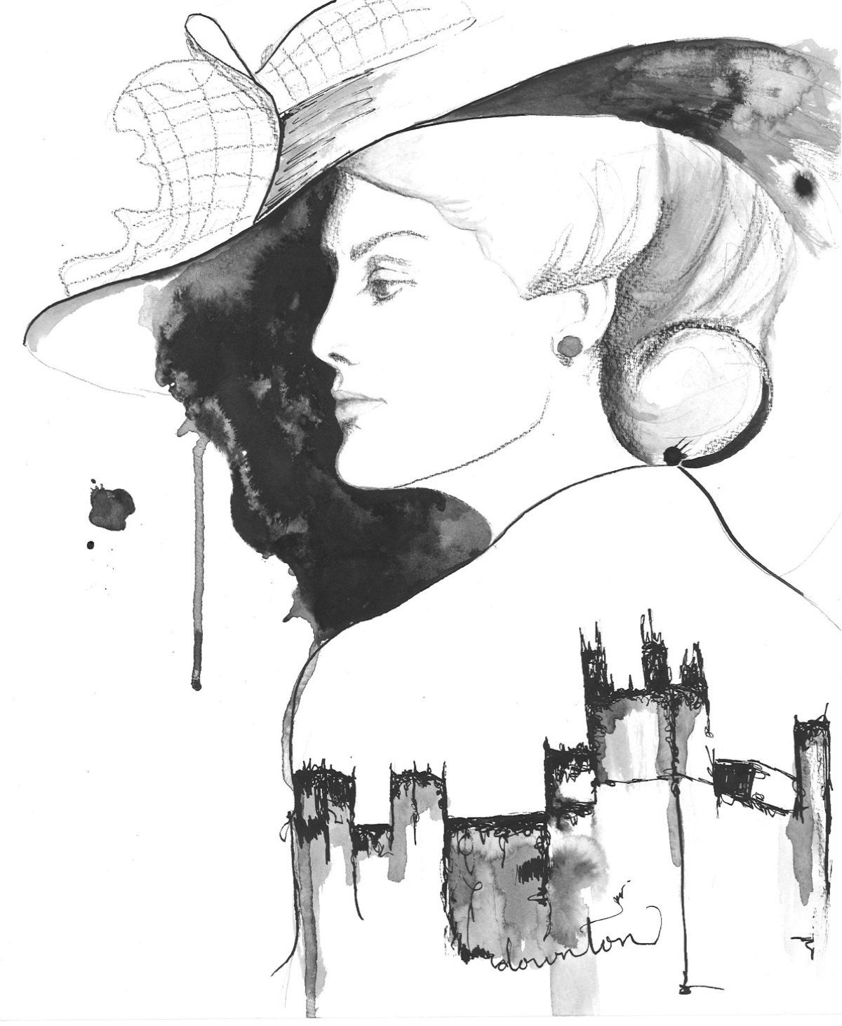 Print of original watercolor, ink, and charcoal illustration, Lady Mary Crawley. via Etsy.