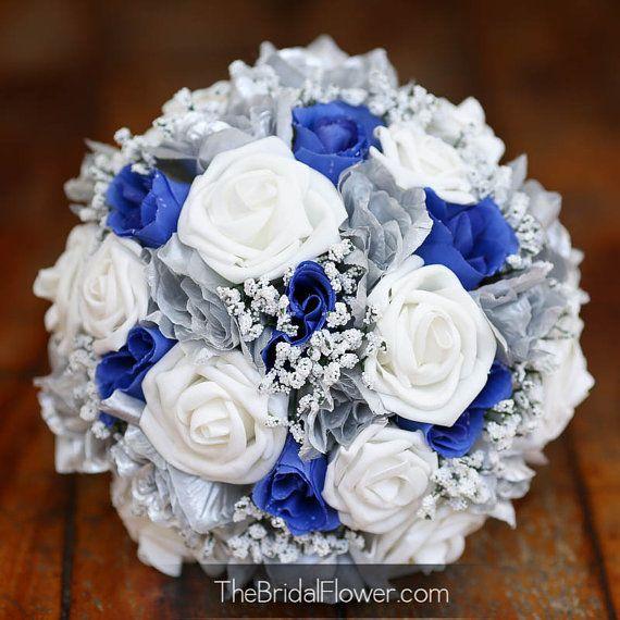 Mazzo Di Fiori Blu.Bouquet Da Sposa Sposa Di Seta Blu E Argento Di Thebridalflower