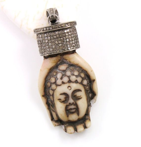 Pave Diamond Buddha in Hand Pendant surrounded in by Beadspoint
