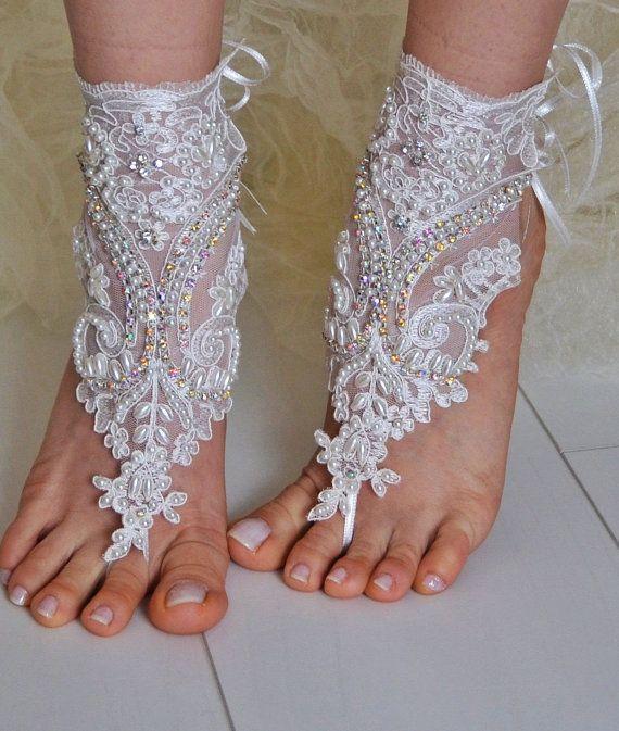 5 paires de cadeaux de demoiselle d'honneur de bracelets de cheville, plage, lariat sandales, chaussures de mariage, usure, la main d'été