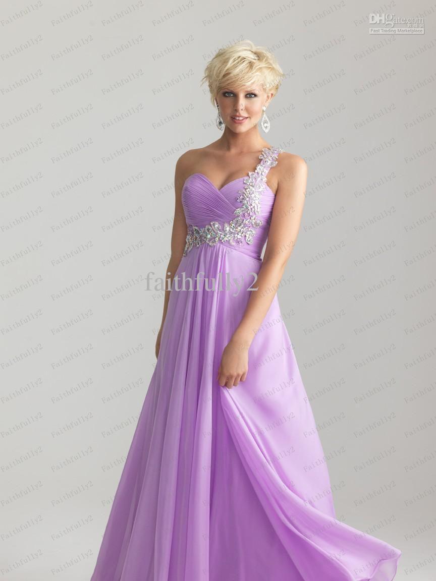 Modest One Shoulder Prom Dress Beads Strap Chiffon Diagonal Pleats ...