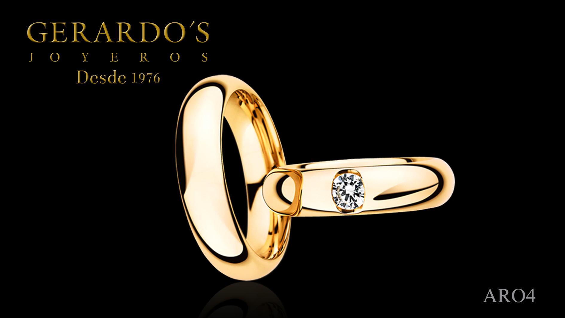 Aros de Matrimonio oro diamante engagement ring gold diamond