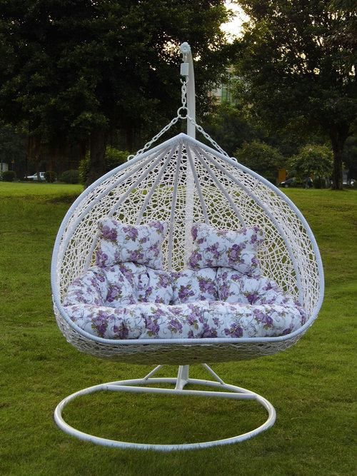 Steel Rattan Hanging Chair,Couple Shape Size:113*129*74cm Ground