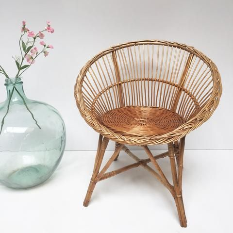 Vintage Woven Rattan Wicker Chair Fauteuil Rotin Tresse Vintage
