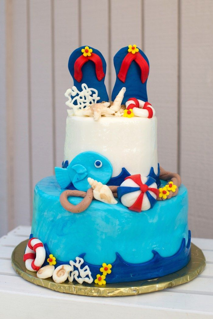 Remarkable Colorful Pool Themed Birthday Party Pool Party Cakes Funny Birthday Cards Online Barepcheapnameinfo