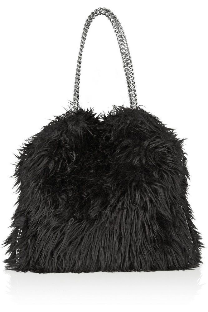 Stella McCartney Black Faux Fur Falabella Chain Strap Handbag Shoulder Bag.  eBay Baby! It s like my puppy purse! Neo Grunge Posh Punk I m in! 9be6fb9b7a578