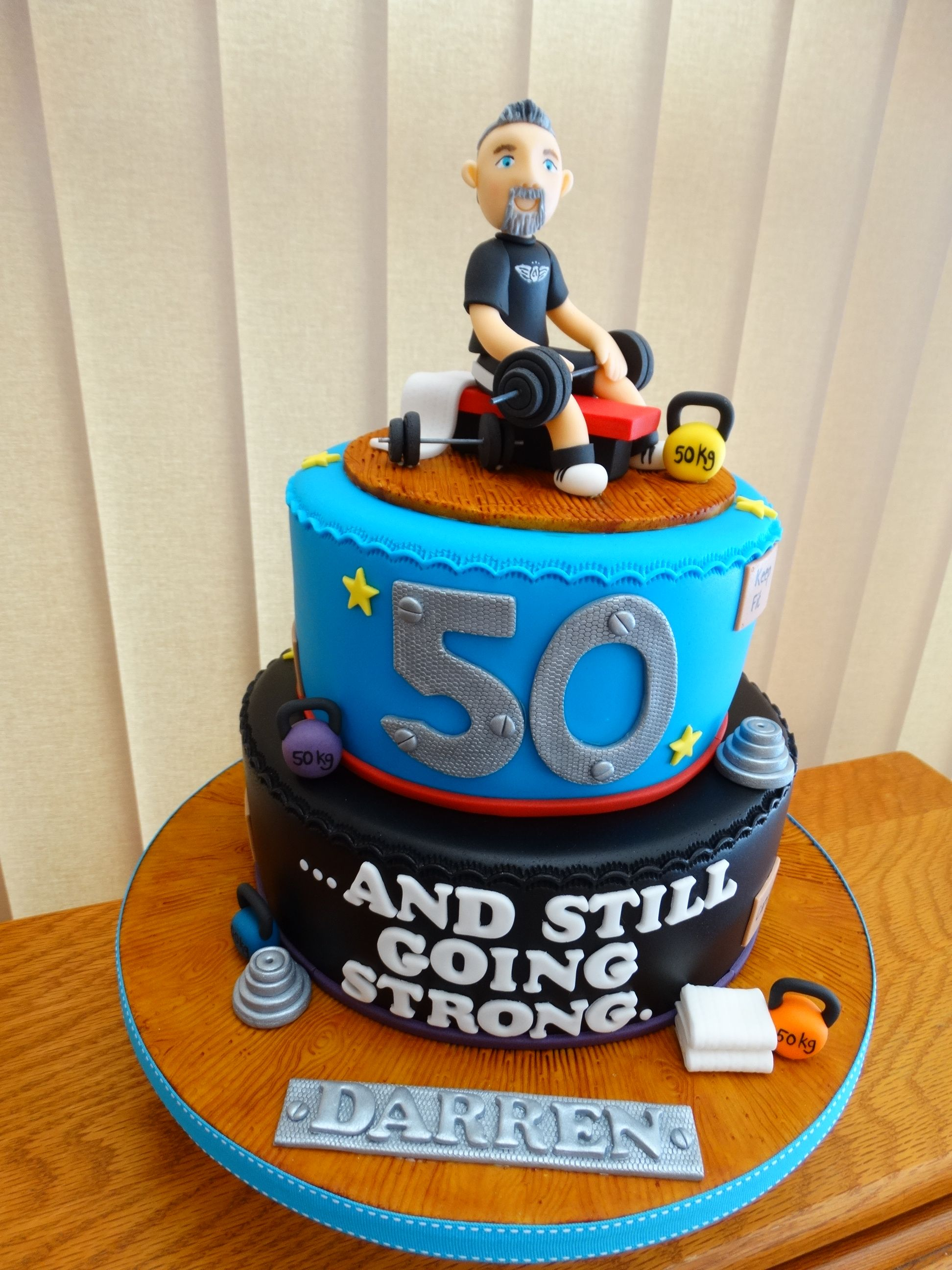 50th Gym Themed Cake XMCx Birthday Cakes