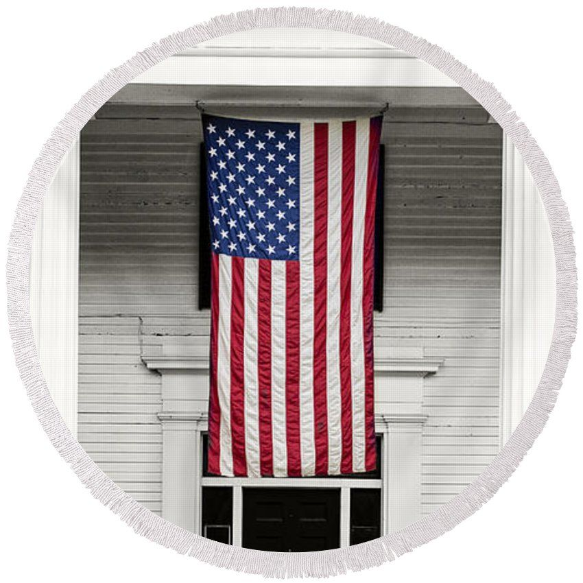 Old Round Beach Towel featuring the photograph Old Glory Est. 1776 by Edward Fielding