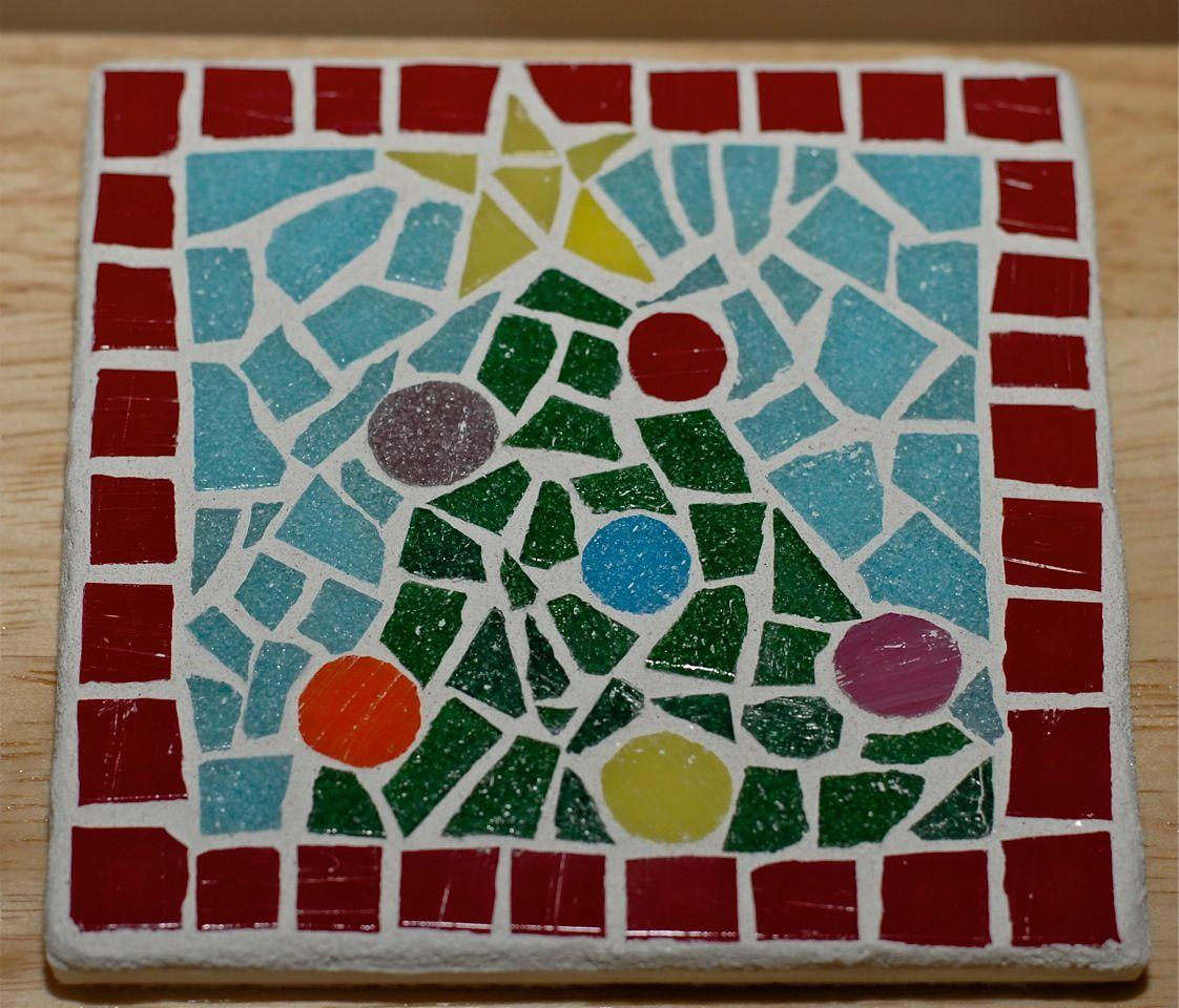 Christmas Tree Coaster Mosaic Tile Christmas Mosaics