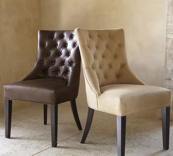 Incredible Hayes Tufted Leather Dining Chair Dining Room Leather Caraccident5 Cool Chair Designs And Ideas Caraccident5Info