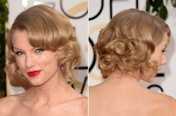 Golden Globes Hair 2014 -- Taylor Swift's curly faux-bob would make a perfect bridal style. Soft and romantic, it could suit many wedding styles!
