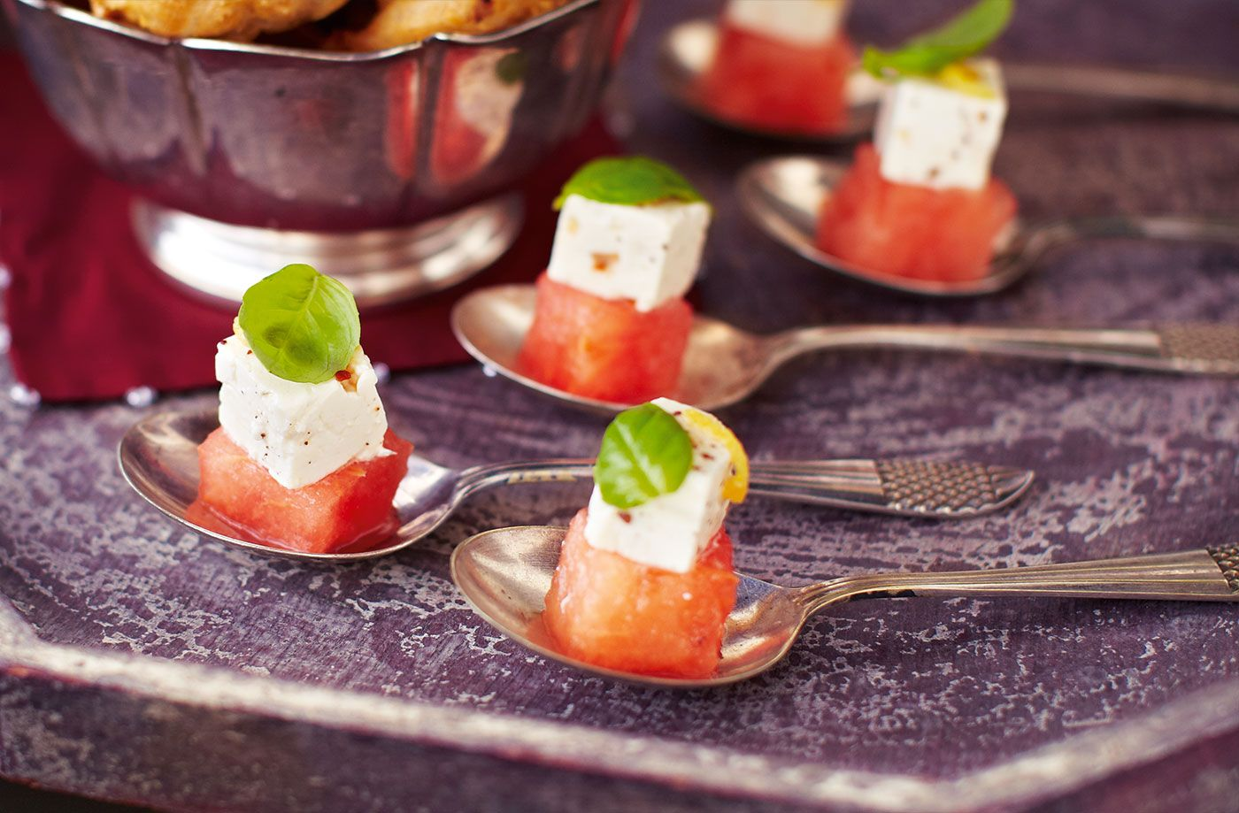 Watermelon with spiced feta and basil recipe real foods feta food forumfinder Gallery