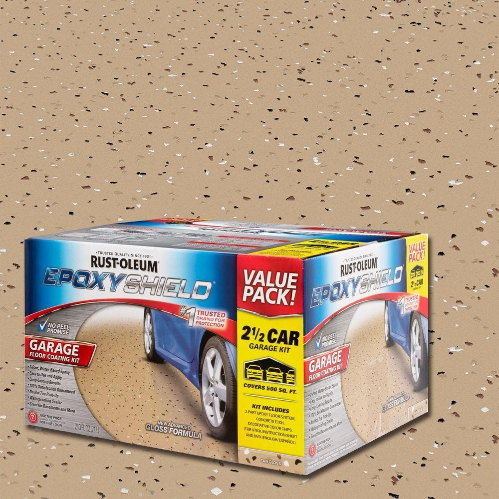 Rust Oleum Epoxyshield 2 Gal Tan Garage Floor Interior Epoxy In