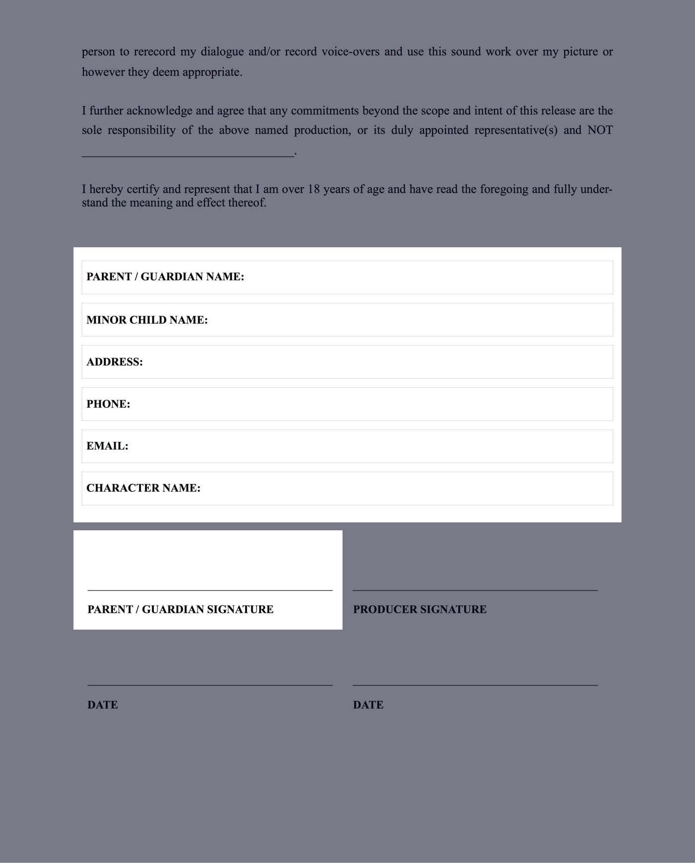Download Free Actor Release Form Template Templates Release Filming Locations