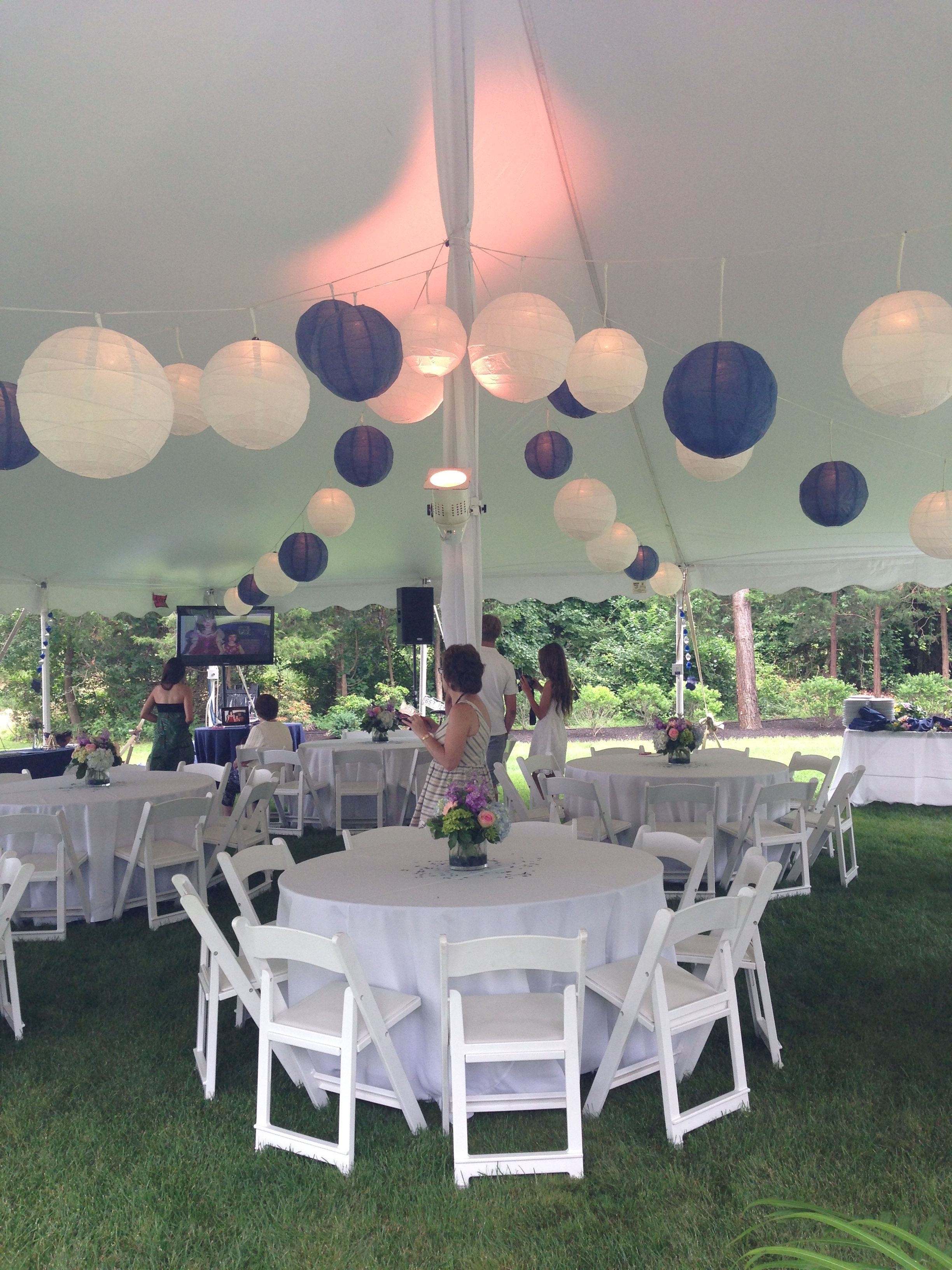 tented blue and white graduation party backyard party