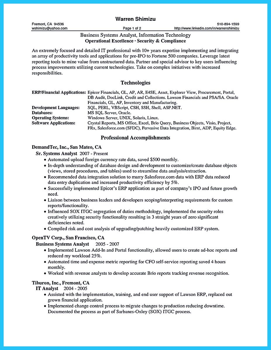 Business Systems Analyst Resume Since We Care About You And We Want You Who Don't Have The Job