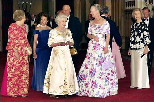 Queens Beatrix of the Netherlands - Sonja of Norway - Elizabeth II of the United Kingdom - Margaret of Denmark - Sofia of Spain