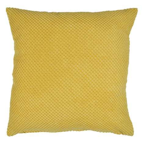 Dunelm Chenille Spot Patterned Yellow Cushion