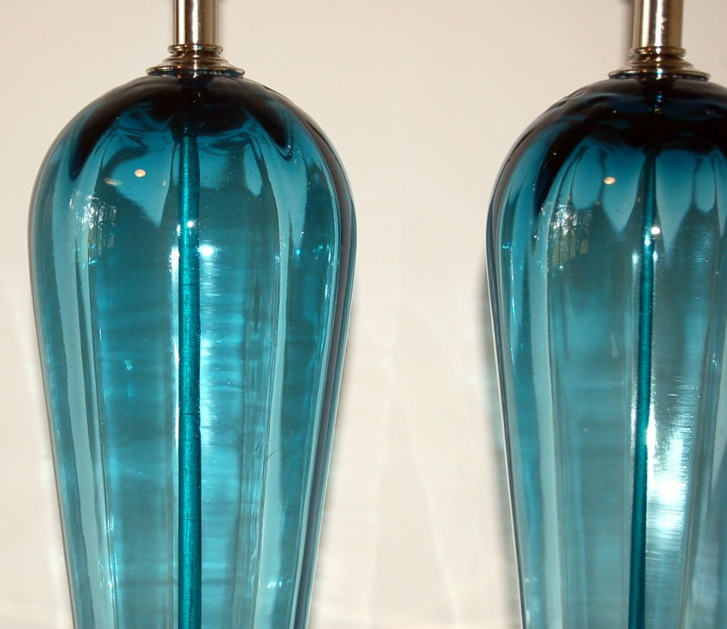 Matched Pair Of Vintage Murano Table Lamps In Teal Blue 5 .