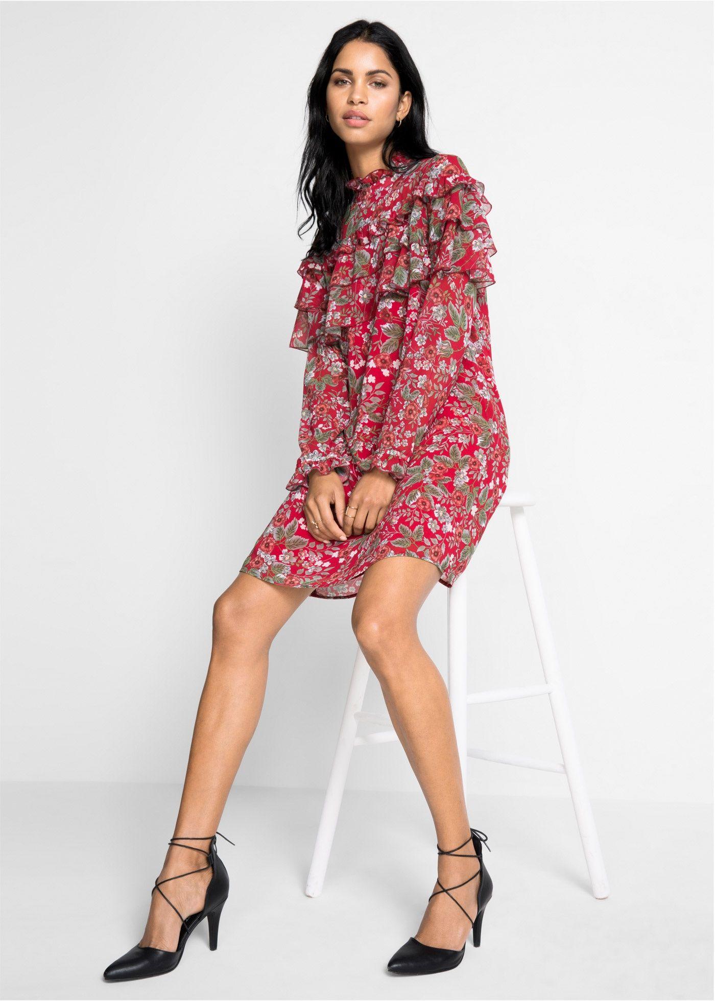 viele möglichkeiten Schnäppchen 2017 super günstig im vergleich zu Chiffon-Kleid rot geblümt jetzt im Online Shop von bonprix ...