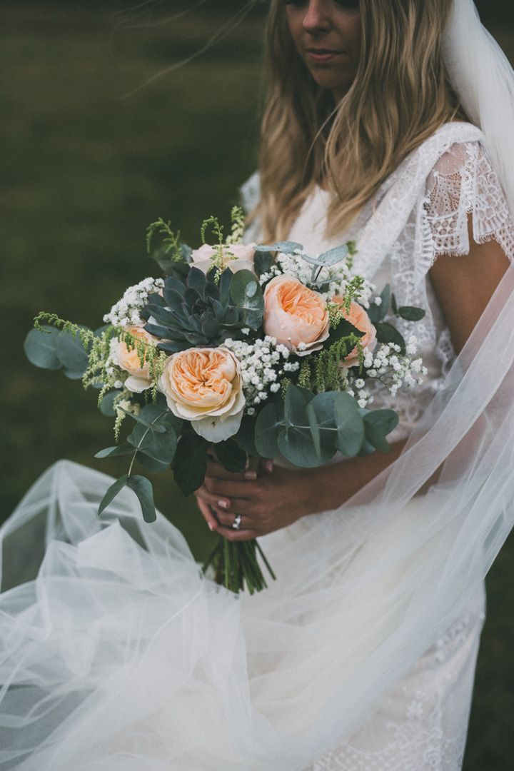 Belle and Bunty wedding gown and peach wedding bouquet | fabmood.com #wedding #bouquet #weddingbouquet #peach #belleandbunty #weddinggown #weddingdress #shortsleeveweddingdress