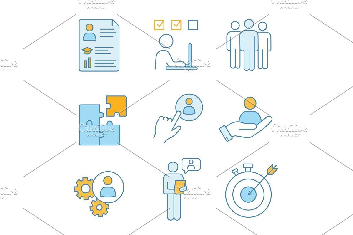 Business Management Color Icons Set Business Management Icon Set Management