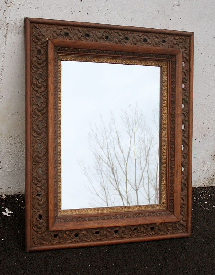 26 X30 Ornate Antique Vintage Oak Wood Wooden Hanging Wall Mirror Gl Frame Neoclical Unknown