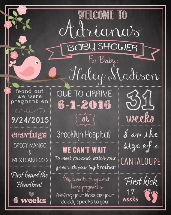 Bird Nest, Baby Shower Pregnancy Chalkboard Poster DIGITAL FILE