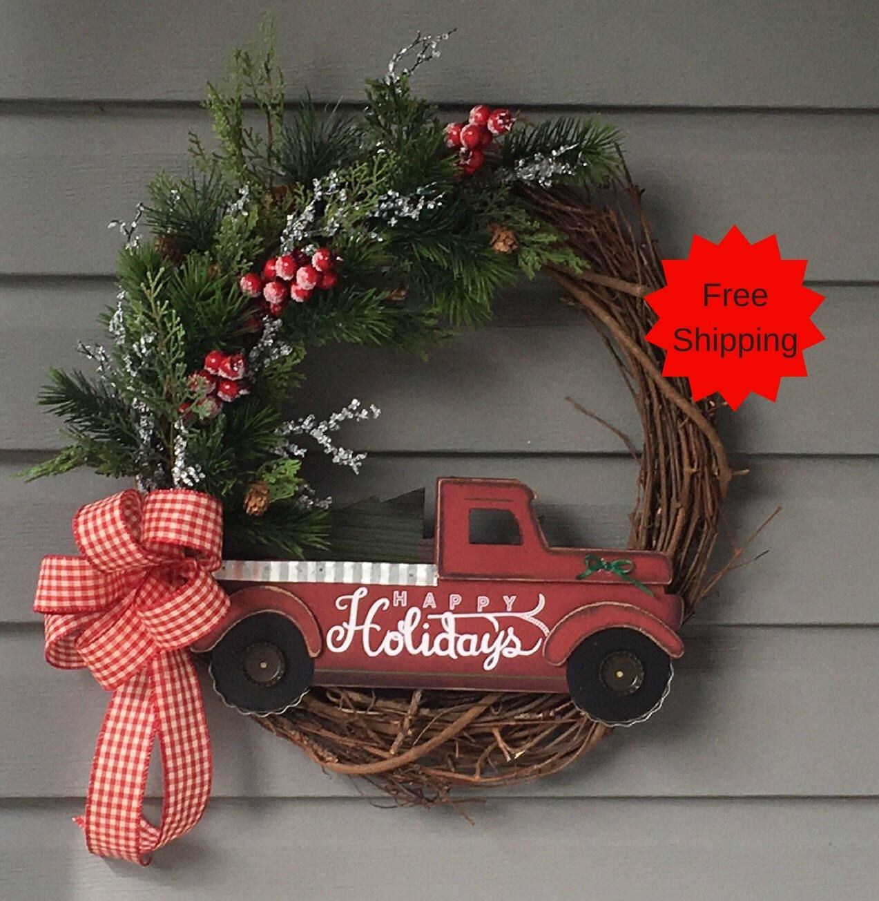 Winter Christmas Wreath for Door Red