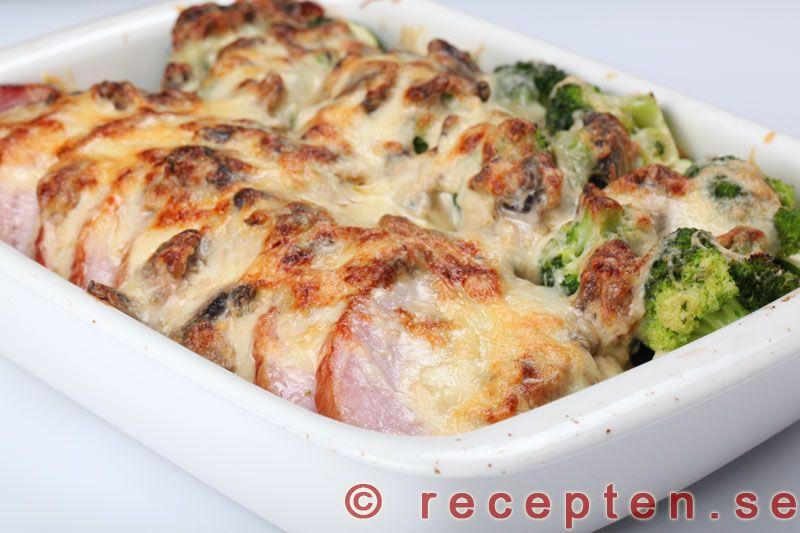 gratinerad kassler med broccoli