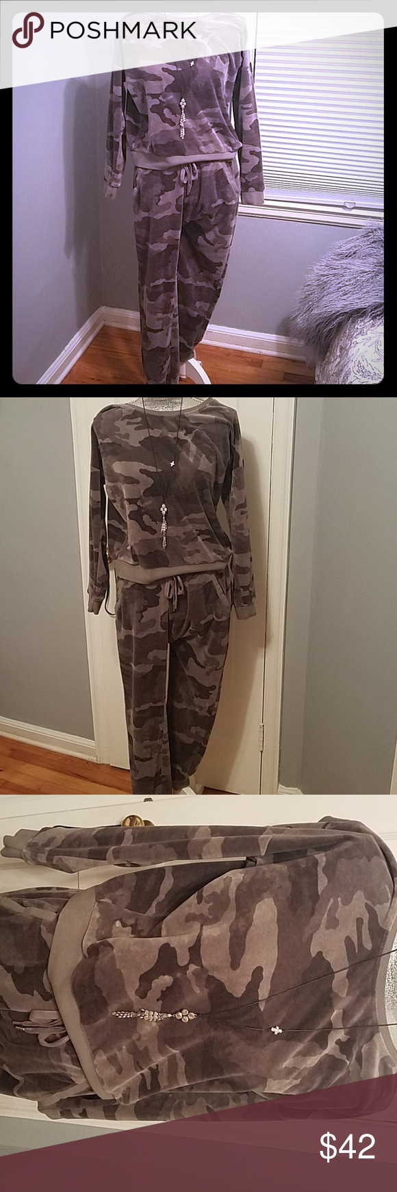 Velour Camo Jogging Set Grey camo jogging set; joggers