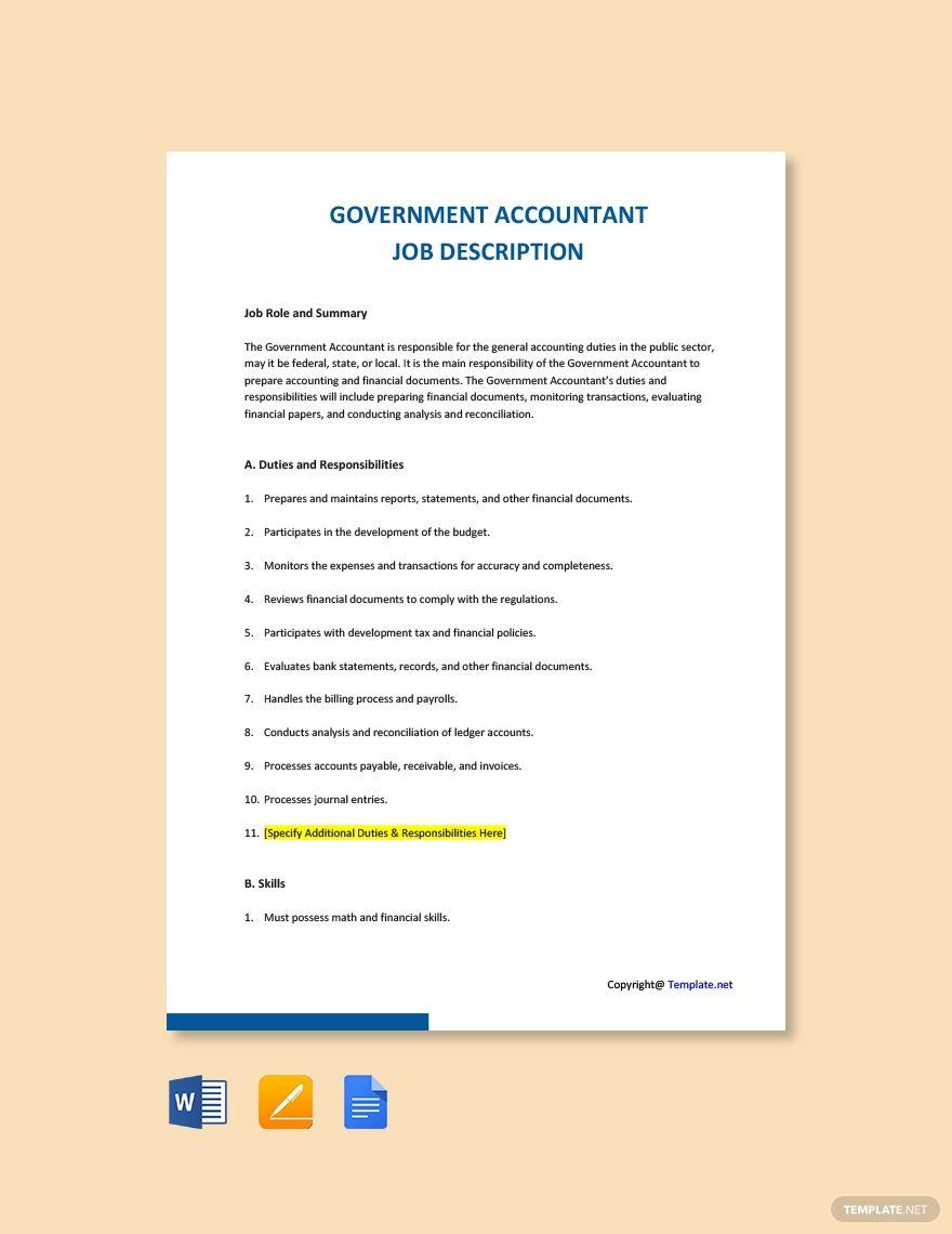 Free Government Accountant Job Description Template in