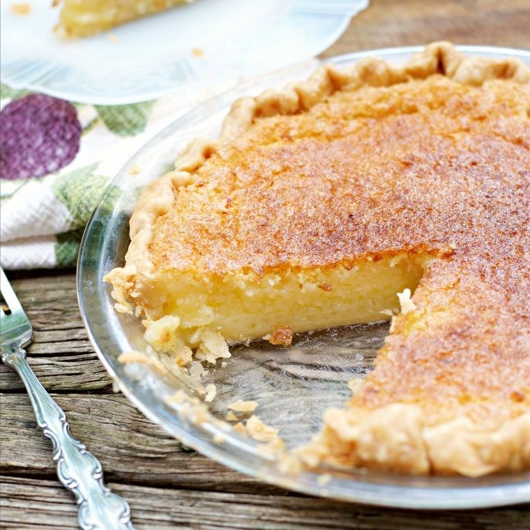 This Is Another Photo Of The Old Fashioned Lemon Chess Pie With A Slice Out And It Is Turned So You Can See T Chess Pie Recipe Lemon Chess Pie Pecan