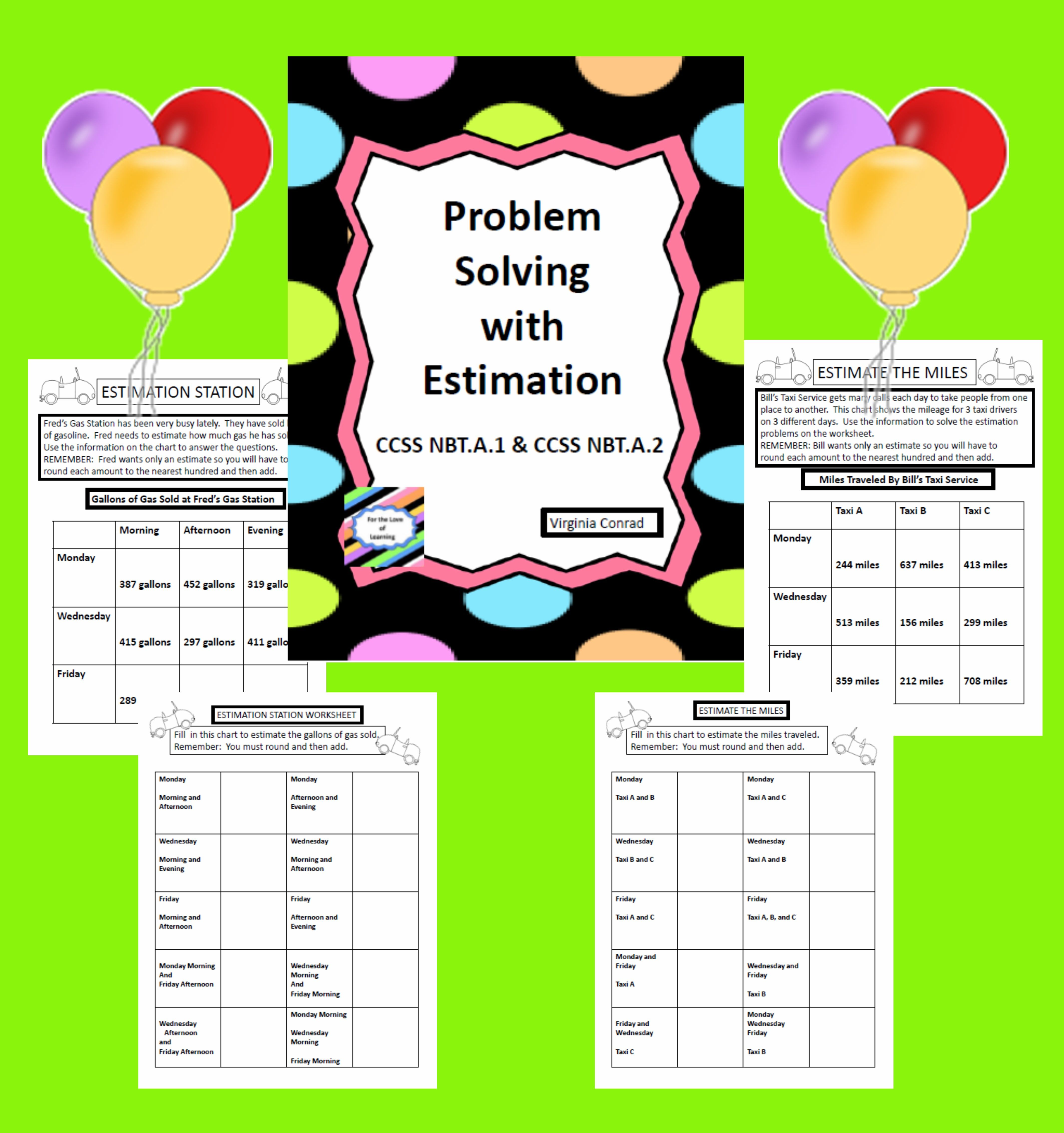 Estimation 4 Worksheets With Real World Problems