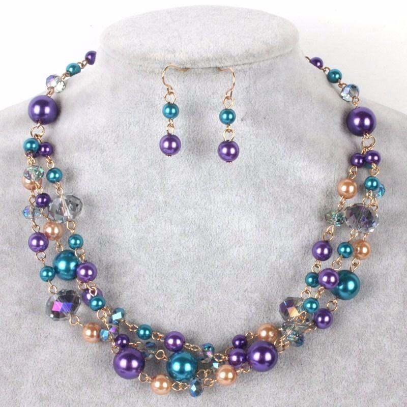 972c2640d0ca set collar pulsera y aretes perla y cristal bisuteria fina  bisuteriafina   bisuteria  mujer  peru