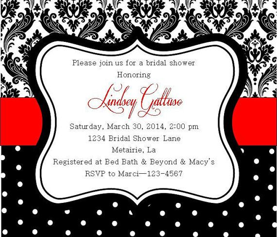 Damask And Polka Dots Black White And Red Bridal Shower