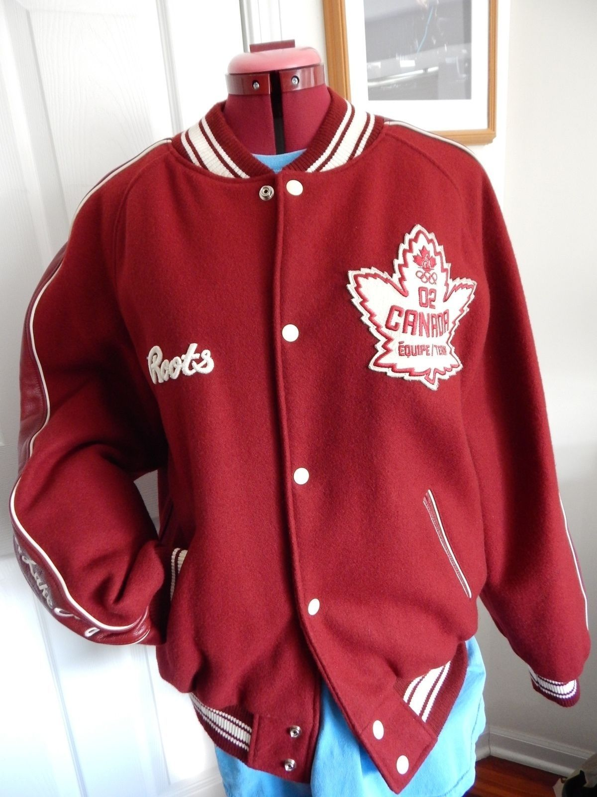 59182a5e8bb Vintage ROOTS Team Canada Winter Olympics 2002 SLC Varsity Letterman Jacket  L