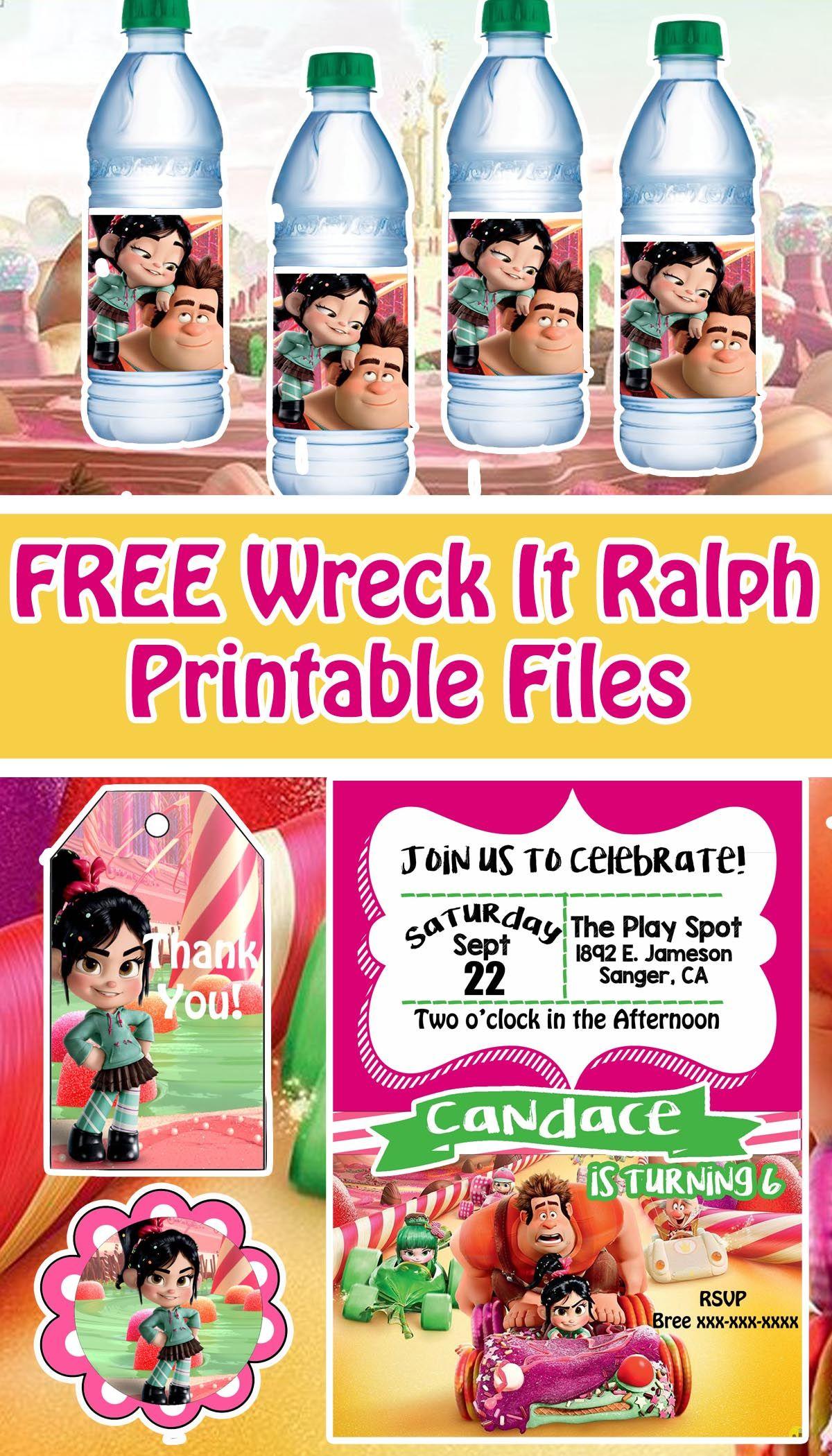 Wreck It Ralph 2 Birthday Party Printable Files Wreck It Ralph