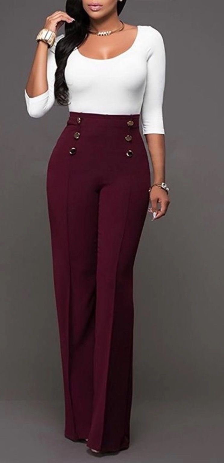 Gold Button Wide Leg Trousers 1