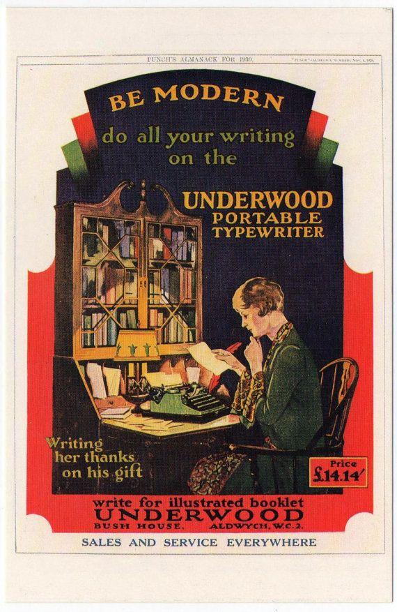 Briefkaart reclame Underwood Draagbare van TheAntikeyChop op Etsy