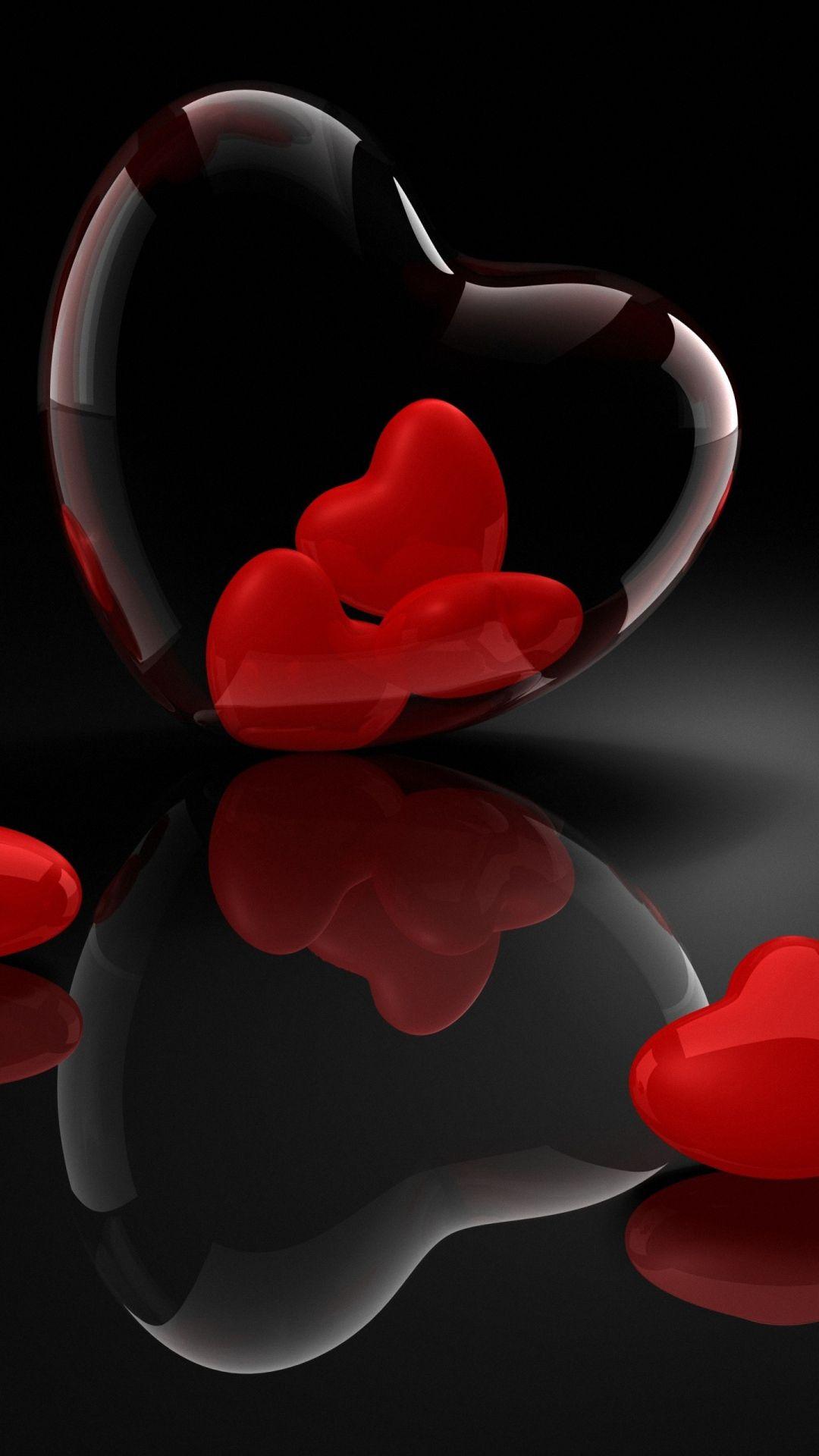 hd heart glass 3d reflection htc desire wallpaper