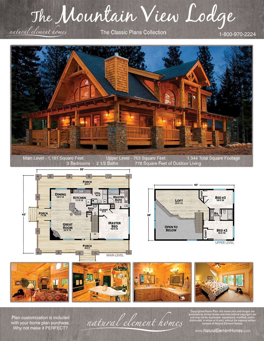 Mountain View Lodge Natural Element Homes Log Homes Log Home Floor Plans Lodge Style House Plans Log Cabin Floor Plans