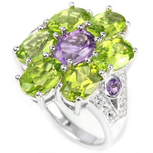 Echte paarse amethist, groene peridot en topaas, 925 sterling zilver bloem ring