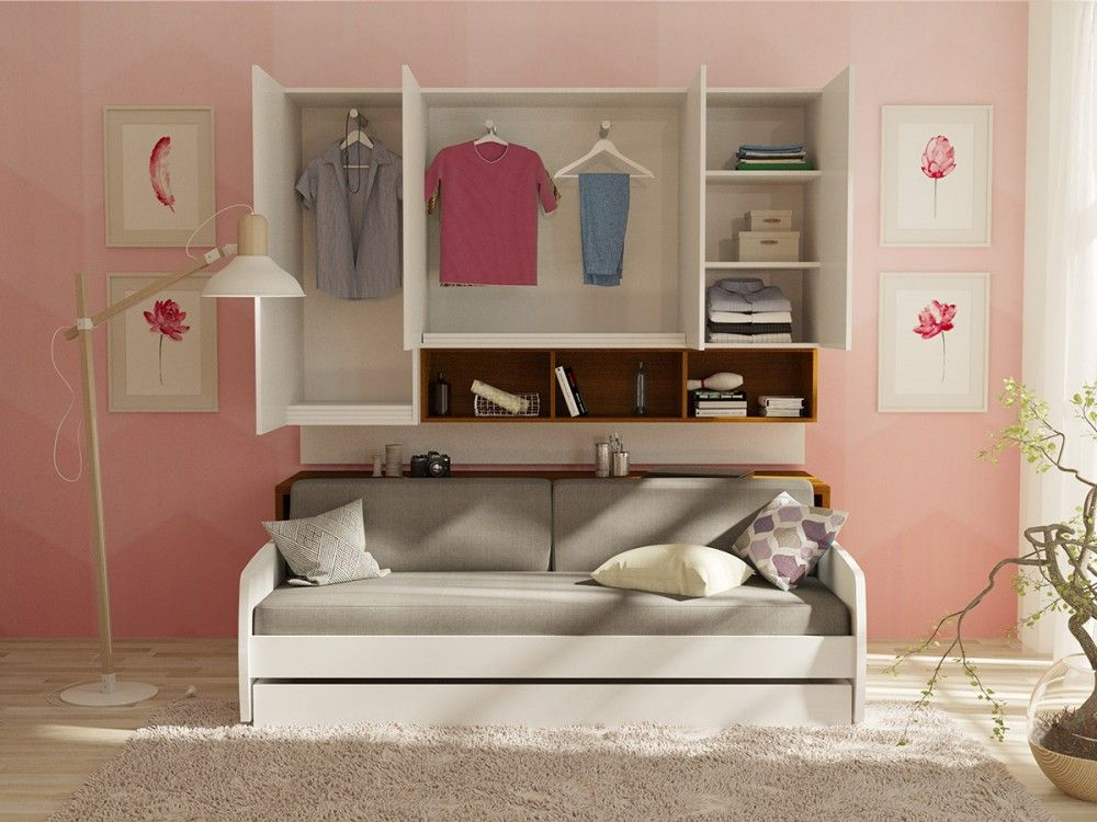 Compact Twin Xl Sofa Bed And Cabinets Wall System With