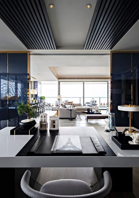Luxo contemporaneo  apto paris no one shenzhen bay china  living gazette best also office interior design you must see for the performance rh pinterest